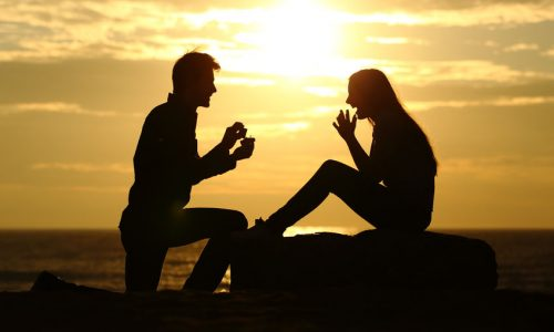 37789900 - proposal on the beach with a man silhouette asking for marry at sunset with the sun in the background